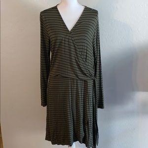 Military Green Wrap Dress
